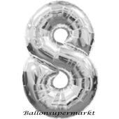 Zahlendekoration Zahl 8, Silber, Großer Luftballon aus Folie, Blau, 1 Meter hoch, Folienballon Dekozahl