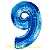 Zahl 9, Blau, Luftballon aus Folie, 100 cm