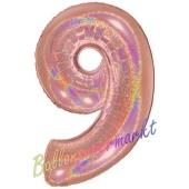Zahlendekoration Zahl 9, holografisch, Rose Gold, Folienballon Dekozahl ohne Helium
