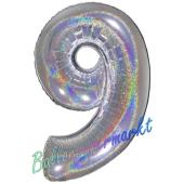 Zahlendekoration Zahl 9, holografisch, Silber, Folienballon Dekozahl ohne Helium