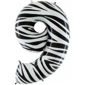 Zahlendekoration Zahl 9, Neun, Großer Luftballon aus Folie, Zebra-Optik, 1 Meter hoch, Folienballon Dekozahl