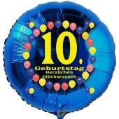 Luftballon aus Folie zum 10. Geburtstag, Herzlichen Glückwunsch Ballons 10, blau, ohne Ballongas