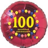 Luftballon aus Folie zum 100. Geburtstag, Herzlichen Glückwunsch Ballons 100, rot, ohne Ballongas
