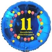 Luftballon aus Folie zum 11. Geburtstag, Herzlichen Glückwunsch Ballons 11, blau, ohne Ballongas