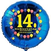 Luftballon aus Folie zum 14. Geburtstag, Herzlichen Glückwunsch Ballons 14, blau, ohne Ballongas