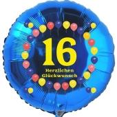Luftballon aus Folie zum 16. Geburtstag, Herzlichen Glückwunsch Ballons 16, blau, ohne Ballongas