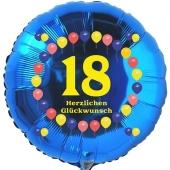 Luftballon aus Folie zum 18. Geburtstag, Herzlichen Glückwunsch Ballons 18, blau, ohne Ballongas