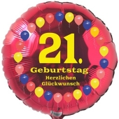 Luftballon aus Folie zum 21. Geburtstag, Herzlichen Glückwunsch Ballons 21, rot, ohne Ballongas