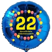 Luftballon aus Folie zum 22. Geburtstag, Herzlichen Glückwunsch Ballons 22, blau, ohne Ballongas