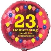 Luftballon aus Folie zum 23. Geburtstag, Herzlichen Glückwunsch Ballons 23, rot, ohne Ballongas