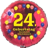 Luftballon aus Folie zum 24. Geburtstag, Herzlichen Glückwunsch Ballons 24, rot, ohne Ballongas
