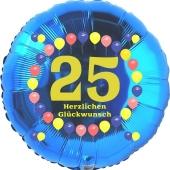 Luftballon aus Folie zum 25. Geburtstag, Herzlichen Glückwunsch Ballons 25, blau, ohne Ballongas