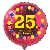 Luftballon aus Folie zum 25. Geburtstag, Herzlichen Glückwunsch Ballons 25, rot, ohne Ballongas