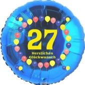 Luftballon aus Folie zum 27. Geburtstag, Herzlichen Glückwunsch Ballons 27, blau, ohne Ballongas