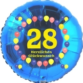 Luftballon aus Folie zum 28. Geburtstag, Herzlichen Glückwunsch Ballons 28, blau, ohne Ballongas