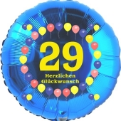 Luftballon aus Folie zum 29. Geburtstag, Herzlichen Glückwunsch Ballons 29, blau, ohne Ballongas