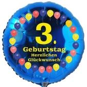 Luftballon aus Folie zum 3. Geburtstag, Herzlichen Glückwunsch Ballons 3, blau, ohne Ballongas