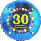 Luftballon aus Folie zum 30. Geburtstag, Herzlichen Glückwunsch Ballons 30, blau, ohne Ballongas