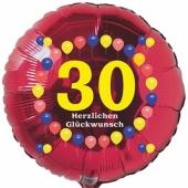 Luftballon aus Folie zum 30. Geburtstag, Herzlichen Glückwunsch Ballons 30, rot, ohne Ballongas