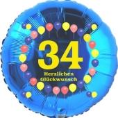 Luftballon aus Folie zum 34. Geburtstag, Herzlichen Glückwunsch Ballons 34, blau, ohne Ballongas