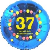 Luftballon aus Folie zum 37. Geburtstag, Herzlichen Glückwunsch Ballons 37, blau, ohne Ballongas