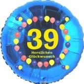 Luftballon aus Folie zum 39. Geburtstag, Herzlichen Glückwunsch Ballons 39, blau, ohne Ballongas