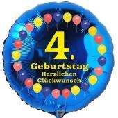 Luftballon aus Folie zum 4. Geburtstag, Herzlichen Glückwunsch Ballons 4, blau, ohne Ballongas