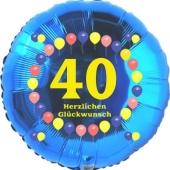Luftballon aus Folie zum 40. Geburtstag, Herzlichen Glückwunsch Ballons 40, blau, ohne Ballongas