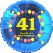 Luftballon aus Folie zum 41. Geburtstag, Herzlichen Glückwunsch Ballons 41, blau, ohne Ballongas
