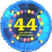 Luftballon aus Folie zum 44. Geburtstag, Herzlichen Glückwunsch Ballons 44, blau, ohne Ballongas