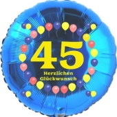 Luftballon aus Folie zum 45. Geburtstag, Herzlichen Glückwunsch Ballons 45, blau, ohne Ballongas