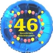 Luftballon aus Folie zum 46. Geburtstag, Herzlichen Glückwunsch Ballons 46, blau, ohne Ballongas