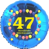 Luftballon aus Folie zum 47. Geburtstag, Herzlichen Glückwunsch Ballons 47, blau, ohne Ballongas
