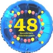 Luftballon aus Folie zum 48. Geburtstag, Herzlichen Glückwunsch Ballons 48, blau, ohne Ballongas