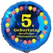 Luftballon aus Folie zum 5. Geburtstag, Herzlichen Glückwunsch Ballons 5, blau, ohne Ballongas