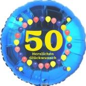 Luftballon aus Folie zum 50. Geburtstag, Herzlichen Glückwunsch Ballons 50, blau, ohne Ballongas