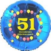 Luftballon aus Folie zum 51. Geburtstag, Herzlichen Glückwunsch Ballons 51, blau, ohne Ballongas