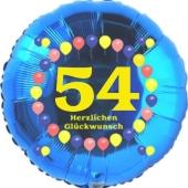 Luftballon aus Folie zum 54. Geburtstag, Herzlichen Glückwunsch Ballons 54, blau, ohne Ballongas