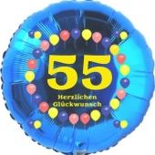 Luftballon aus Folie zum 55. Geburtstag, Herzlichen Glückwunsch Ballons 55, blau, ohne Ballongas