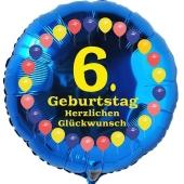 Luftballon aus Folie zum 6. Geburtstag, Herzlichen Glückwunsch Ballons 6, blau, ohne Ballongas