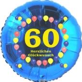 Luftballon aus Folie zum 60. Geburtstag, Herzlichen Glückwunsch Ballons 60, blau, ohne Ballongas
