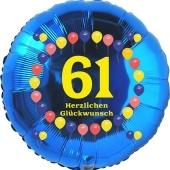 Luftballon aus Folie zum 61. Geburtstag, Herzlichen Glückwunsch Ballons 61, blau, ohne Ballongas