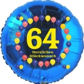 Luftballon aus Folie zum 64. Geburtstag, Herzlichen Glückwunsch Ballons 64, blau, ohne Ballongas