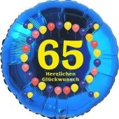 Luftballon aus Folie zum 65. Geburtstag, Herzlichen Glückwunsch Ballons 65, blau, ohne Ballongas