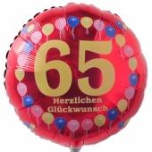 Luftballon aus Folie zum 65. Geburtstag, Herzlichen Glückwunsch Ballons 65, rot, ohne Ballongas