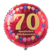 Luftballon aus Folie zum 70. Geburtstag, Herzlichen Glückwunsch Ballons 70, rot, ohne Ballongas
