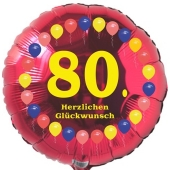 Luftballon aus Folie zum 80. Geburtstag, Herzlichen Glückwunsch Ballons 80, rot, ohne Ballongas