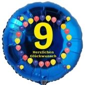 Luftballon aus Folie zum 9. Geburtstag, blauer Rundballon, Balloons, Herzlichen Glückwunsch, inklusive Ballongas