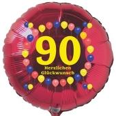 Luftballon aus Folie zum 90. Geburtstag, Herzlichen Glückwunsch Ballons 90, rot, ohne Ballongas