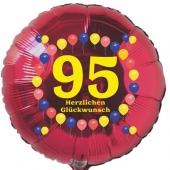 Luftballon aus Folie zum 95. Geburtstag, Herzlichen Glückwunsch Ballons 95, rot, ohne Ballongas